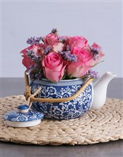 Pink Roses in a Delft Teapot