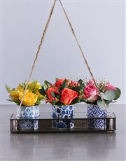 Mixed Roses in Delft Tins