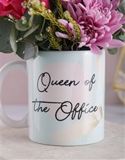 Queen Of The Office Floral Mug