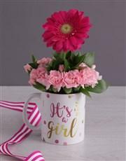 Its a Girl Daisy in a Mug
