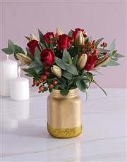 Roses and Lilies in a Gold Consol Jar
