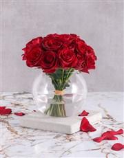Red Rose Bouquet in Round Vase