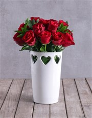 Red Roses In Ceramic Cut Out Hearts Vase