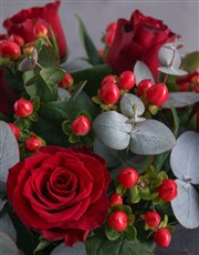 Hypericum and Red Rose Box