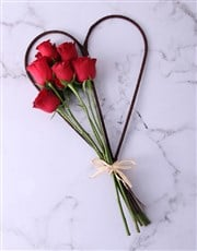 Small Red Rose Willow Heart