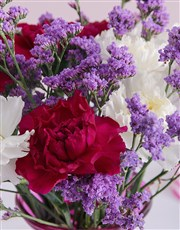 Purple and White Carnations in a Vase