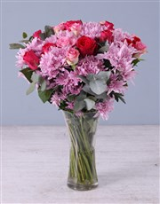Pink Florals in Tall Vase