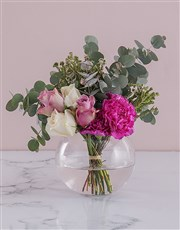 Rose Duo in a Glass Bowl