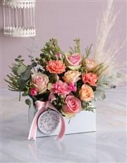 Pastel Pink Floral Flair in Envelope Box