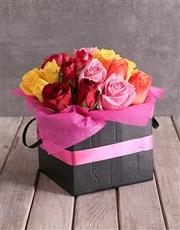 Mixed Roses In Pink Ribbon Box