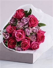 Elegant Mixed Roses In White Craft Paper