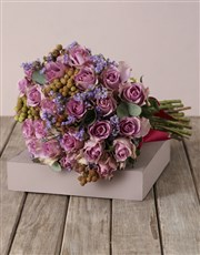 Lilac Roses and Gum Leaf Bouquet