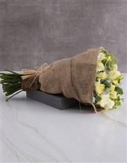 Dreamy Cream Roses In Hessian
