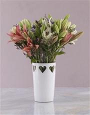 Asiflorum Lilies in Heart Pattern Vase