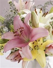 Pretty Lilies In Birdie Jug