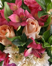 Roses And Peruvian Lilies In Pink Flair