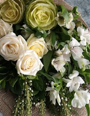 White Rose in Hessian Bouquet
