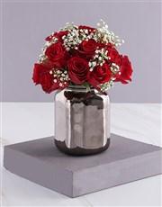 Christmas Red Roses In Bronze Vase
