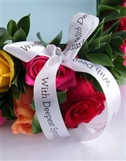 Mixed Rose Sympathy Wreath And Glass Tile