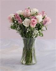 Pale Pastel Mixed Rose Arrangement