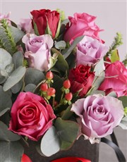 Vibrant Mixed Roses in Hatbox