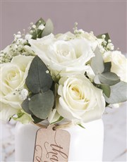 Thank You Consol Jar of White Roses