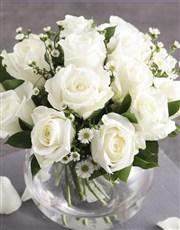 Celestial White Roses in Fish Bowl Vase