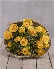 Cheerful Yellow Rose Bouquet