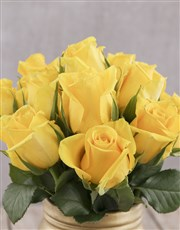 Yellow Roses in Gold Consol Jar