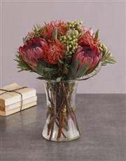 Protea Fantasia In A Glass Vase