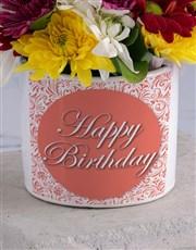 Happy Birthday Spray in White Vase