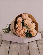 Peach and Craft Paper Rose Bouquet