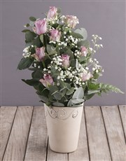 Lilac Roses in Ceramic Pottery