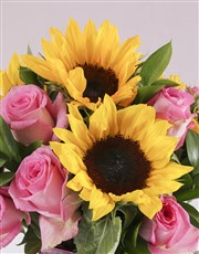 Pink Rose and Sunflower Vase