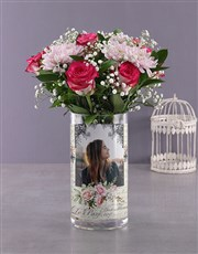 Personalised Million Star and Roses Photo Vase