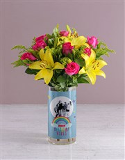 Personalised Birthday Vibes Blooms Photo Vase
