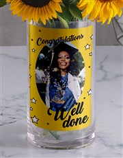 Personalised Well Done Flowers Photo Vase