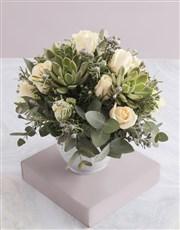 Cream Rose and Succulent Arrangement