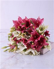 Pastel Pink and White Lily Bouquet