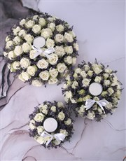 White Sympathy Roses With Glass Candle
