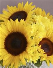 Sunflowers in Diamond Vase