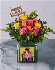 Colourful Birthday Roses in a Vase