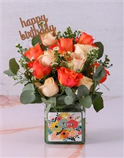 Bright Birthday Rose Blooms in a Vase