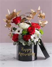 Anniversary Mixed Flowers In Hat Box