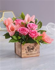 Thank You Blossoms In Wooden Box
