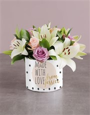 Personalised Mixed Flowers With Love Hat Box