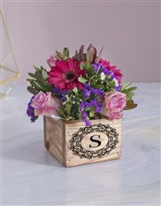 Mixed Flowers In Wooden Box