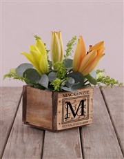 Mixed Lilies In Square Wooden Box