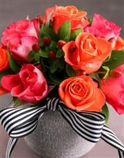 Cerise and Orange Rose Arrangement