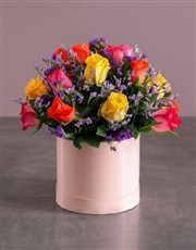 Mixed Roses in Pink Box